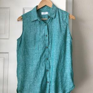 Uniqlo | Aqua linen button up shirt MED